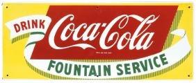 Coca-Cola Fountain Service sign, porcelain, NOS