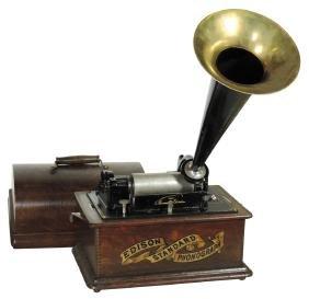 Phonograph, Edison Standard, oak w/domed cover & horn,