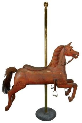 Carousel horse, carved wood w/horsehair tail, leather