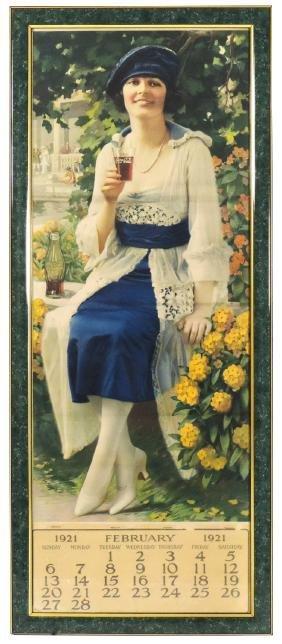 Coca-Cola calendar, c.1921, prof framed, VG cond