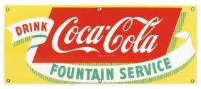 "Coca-Cola sign ""Fountain Service"", porcelain, Near-Mint"