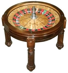 Gambling, roulette wheel coffee table, mfgd by Bud