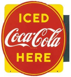 Coca-Cola sign, 2-sided diecut porcelain flange, both