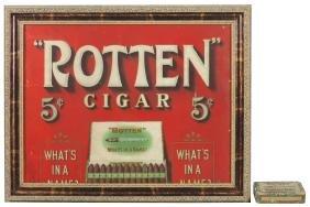 Cigar sign, Rotten Cigars, litho on cdbd, Rare,
