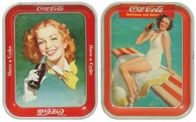 Coca-Cola serving trays (2), 1939 girl in bathing suit