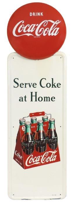Coca-Cola sign, Serve Coke at Home, self-framed metal
