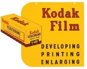 Drug store sign, Kodak Film, 2-sided metal, both sides