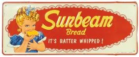 Country store sign, Sunbeam Bread, self-framed embossed
