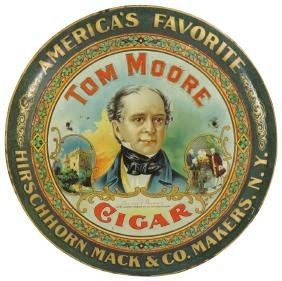 Cigar sign, Tom Moore Cigar, litho on tin, by Standard