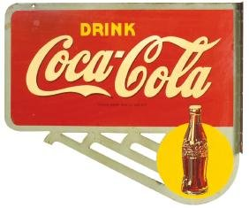Coca-Cola sign, 2-sided metal flange by