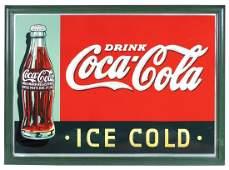 """Coca-Cola sign, """"Drink Coca-Cola Ice Cold"""" w/Christmas"""