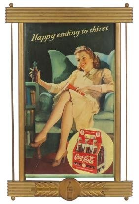 "Coca-Cola sign, ""Happy ending to thirst"", cdbd in"