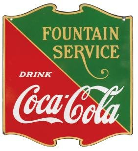 Coca-Cola sign, Fountain Service 2-sided porcelain