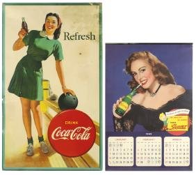 Coca-Cola sign & calendar, bowling-themed sign, cdbd,