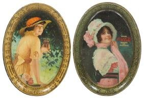 Coca-Cola tip trays (2), 1914 Betty & 1916 Elaine, 1916