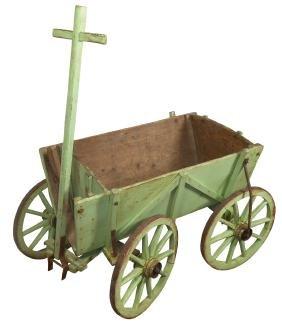 Goat cart, primitive pine w/orig green paint & wood