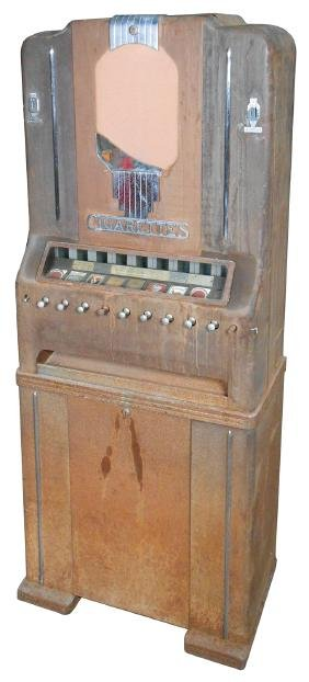 Coin-operated cigarette machine, mfgd by National