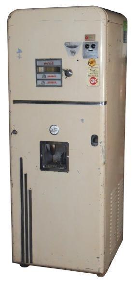 "Coin-operated soda machine, ""Cole Spa"", 15 Cent, vends"