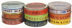 Tobacco tins (9), Hiawatha, Uncle Daniel, Sweet Cuba,