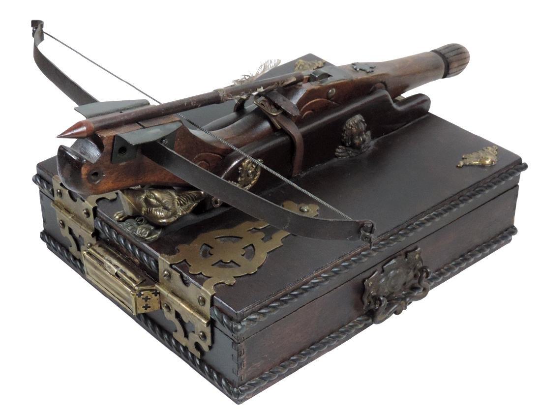 Vampire kit, wood & leather case w/ornate brass