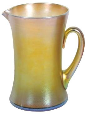 Art glass pitcher, L. C. Tiffany-Favrile etched on
