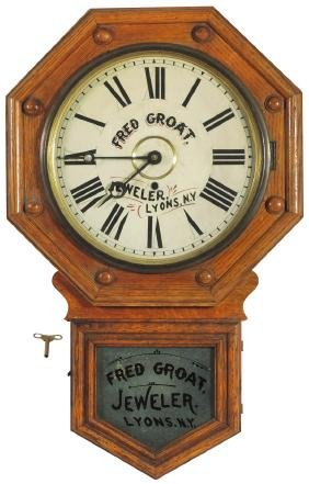 Clock, jeweler's regulator, mfgd by Gilbert w/adv from