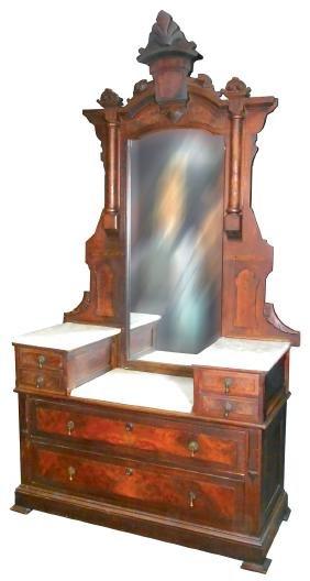 Furniture, 2-pc dresser, Eastlake, walnut w/burl inlay