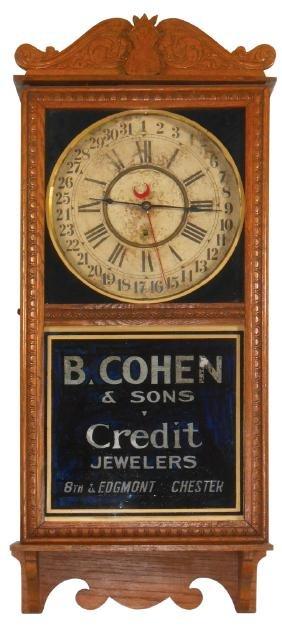 Clock, Gilbert Calendar Regulator w/adv from B. Cohen &