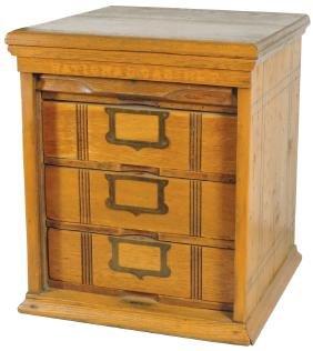 Furniture, file cabinet, oak 3-drawer w/roll-up front,