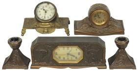 Clocks & candle holders (5), Lux Clock Company brass