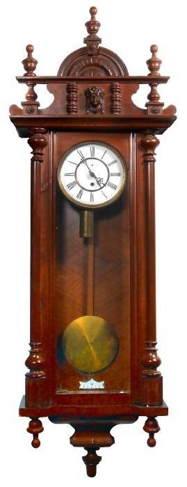 Clock, German, walnut weight-driven wall clock