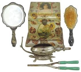 Dresser items (5), Victorian collar box, silver plated