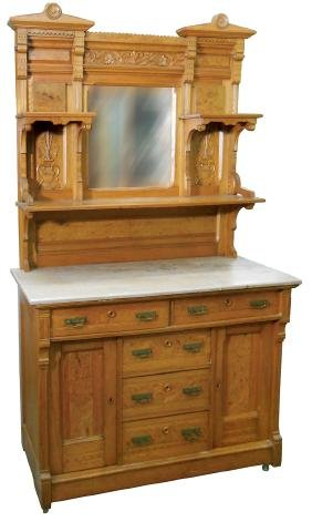 Furniture, sideboard, ash 2-pc w/Birdseye maple inlay &