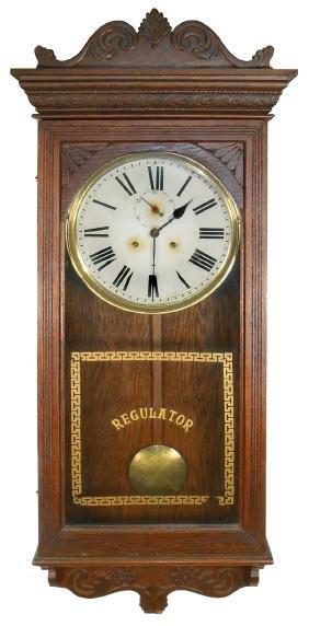 Clock, long case jeweler's regulator w/second hand,