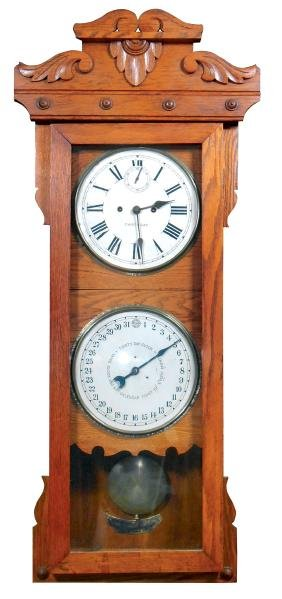 Clock, New Haven double-dial calendar clock w/second