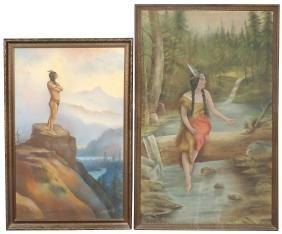 Native American framed art (2), Indian brave on rock,