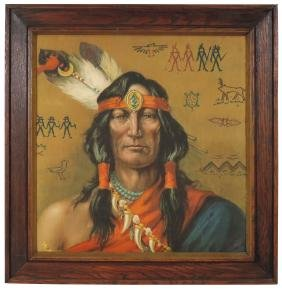 Native American framed fabric, colorful Indian brave