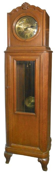 Clock, grandfather clock, English, oak case w/brass