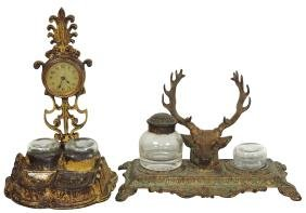 Inkwells (2), 1 w/wkg clock marked Verona & deer head