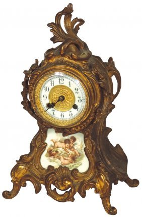 Clock, European mantel, fancy brass case w/porcelain