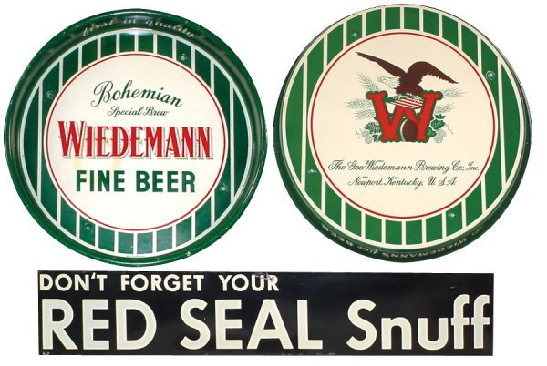 241: Wiedemann Brewing Co. beer tray & Red Seal Snuff m