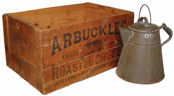 281: Cowboy coffee box & cowboy coffee pot; Arbuckles C