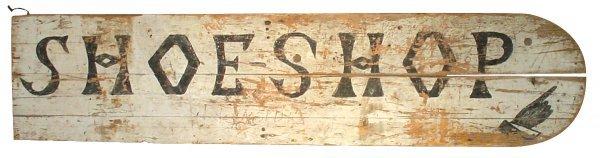 754: Primitive wood sign, Wolback, NE shoe shop on one