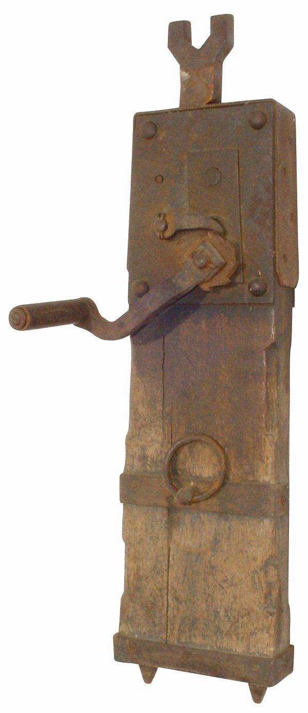 756: Primitive wagon jack, oak & iron, complete, mid 18