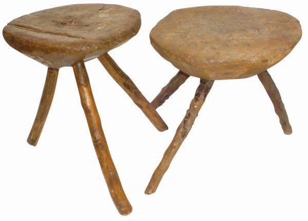 "758: Primitive milk stools (2); both w/3 ""tree branch"""