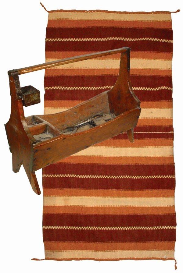 759: Farrier's box & saddle blanket, wooden box w/handl