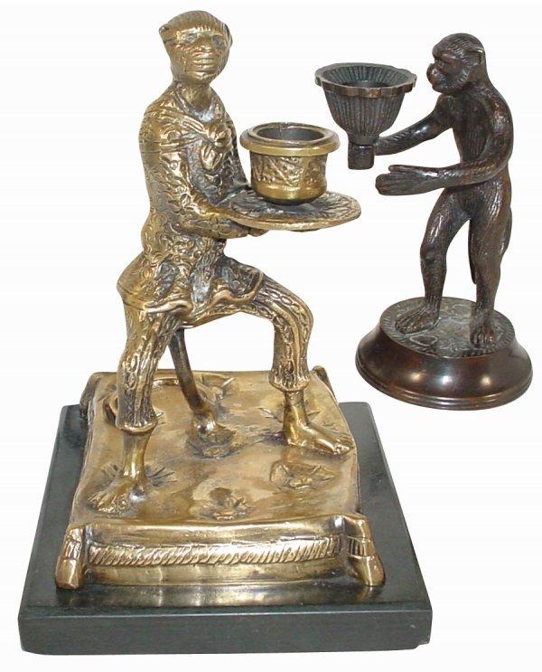 762: Monkey candleholders, large brass monkey on heavy