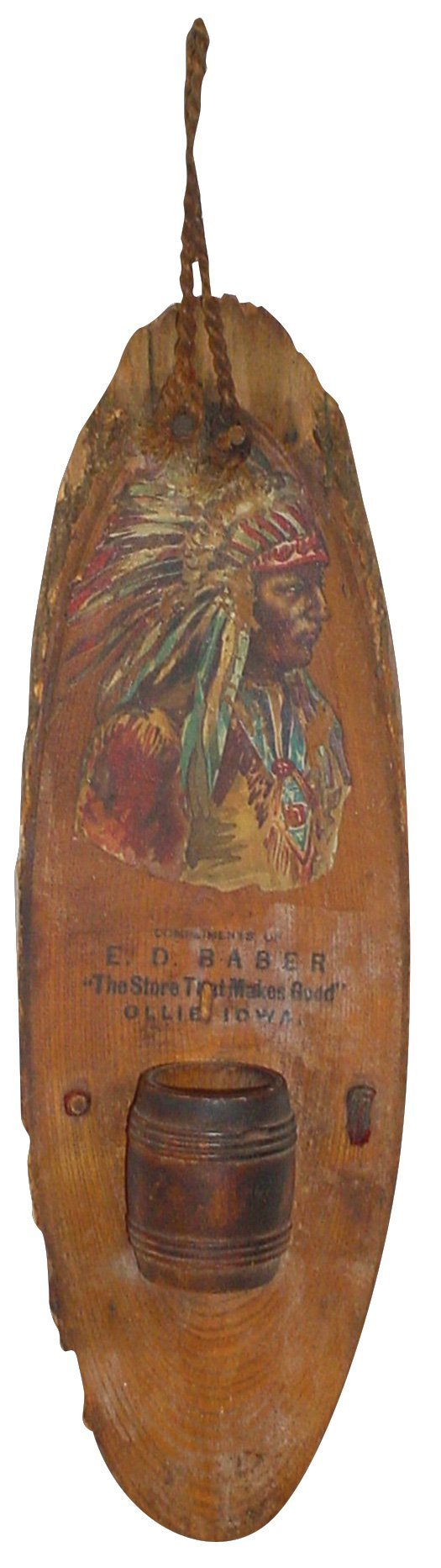 764: Advertising match holder with Indian for E.D. Babe