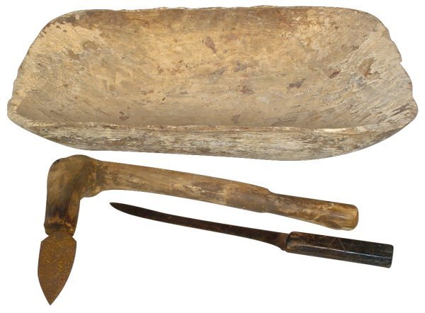 765: Canadian Indian hand-hewn wooden bowl, knife w/woo