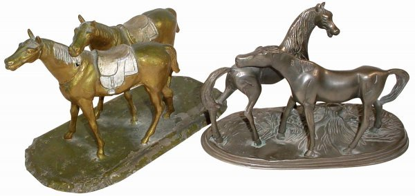 766: Horse figures, 2 pr.; one solid pewter, Exc. condi